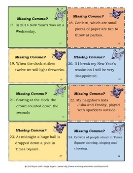 Holiday Comma Task Cards - New Year's