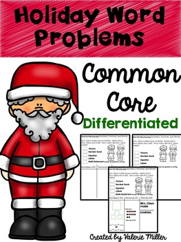 Holiday Common Core Word Problems -First Grade