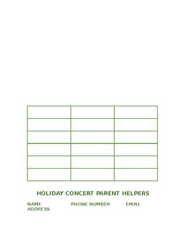 Holiday Concert Parent Helper Sign up Sheet