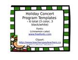 Holiday Concert Program Template