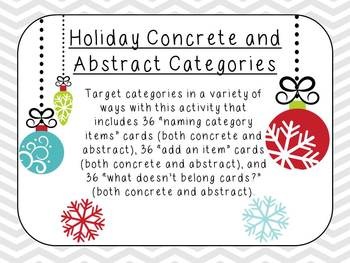 Holiday Concrete and Abstract Categories