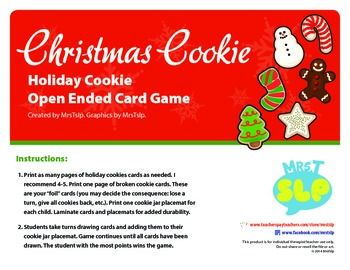 Holiday Cookie Open Ended Card Game