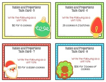Ratio and Proportion Task Cards - Holiday Cookie