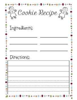 Holiday Cookie Recipe Template