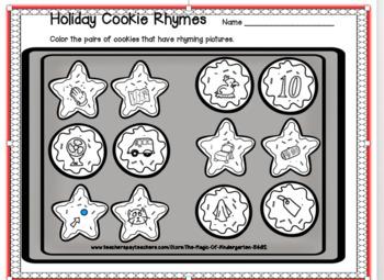 Holiday Cookie Rhymes Worksheet