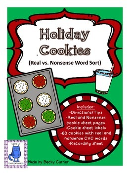 Holiday Cookies Real vs. Nonsense Word Sort