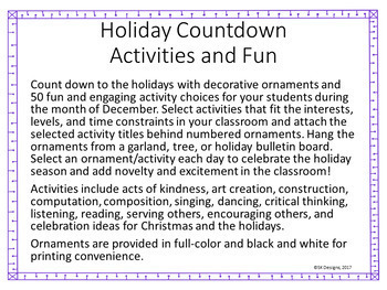 Holiday Countdown Fun with 50 Novel, Engaging and Enriching Holiday Activities