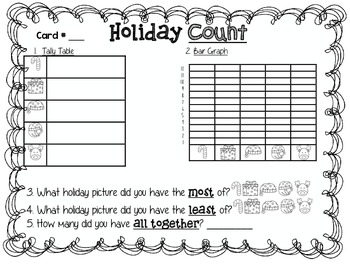 Holiday Counting Fun (Counting, Data Analysis, and Addition)