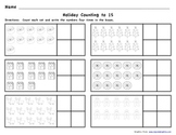 Holiday Counting Teen Numbers to 15
