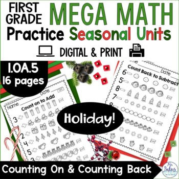 Christmas Counting On and Counting Back Holiday Mega Math Practice 1.OA.5