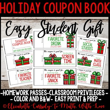 Holiday Coupon Book-Student Gift-Upper Elementary