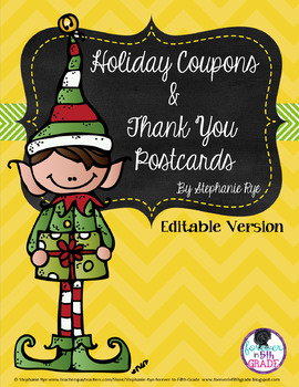 Holiday Coupons and Thank You Postcards - Editable Version