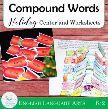 Compound Words Center and Interactive Worksheets (Holiday theme)