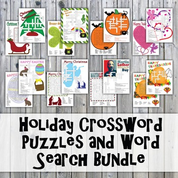 Holiday Crossword Puzzles and Word Search Bundle - Includes 8 Sets