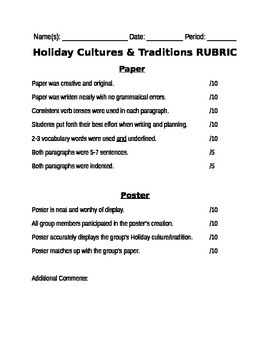 Holiday Cultures & Traditions Rubric