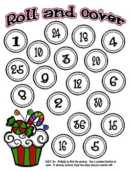Holiday Cupcake Multiplication Roll and Cover