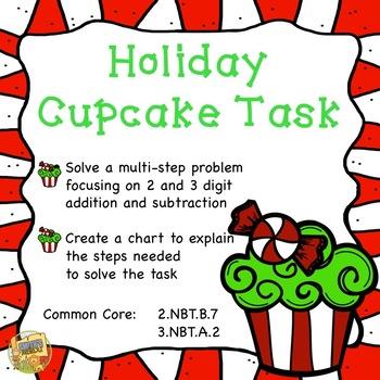 Holiday Cupcake Task - Common Core 2.NBT.B.7, 3.NBT.A.2