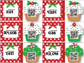 Holiday Cupcakes Long Division QR Code Task Cards
