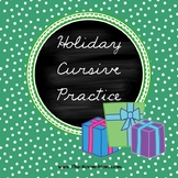 Holiday Cursive Handwriting Worksheets (freebie)