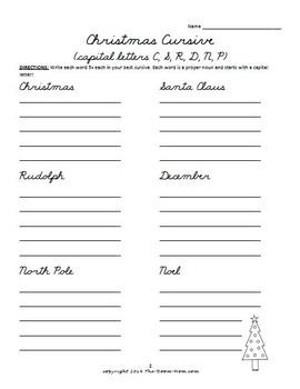 Holiday Cursive Handwriting Worksheets (freebie) by TheRoomMom | TpT