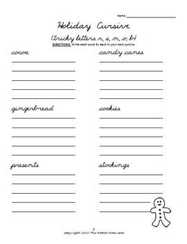 Holiday Cursive Handwriting Worksheets (freebie)