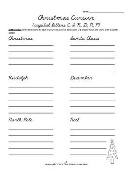 Holiday Cursive Handwriting Practice Worksheets (freebie)