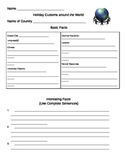 Holiday Customs Around the World Research Form
