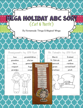 Mega Holiday ABC sort {cut & paste}