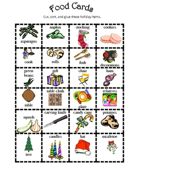 Holiday December Christmas Fun Food Sort : Math or Science skills