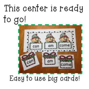 Holiday/December Kindergarten  Sight Word Matching Center