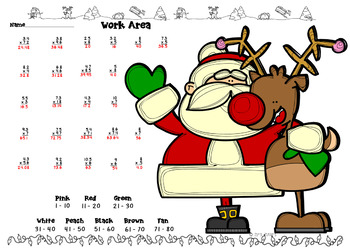 Holiday Decimal Multiplication Color by Number Santa Rudolf
