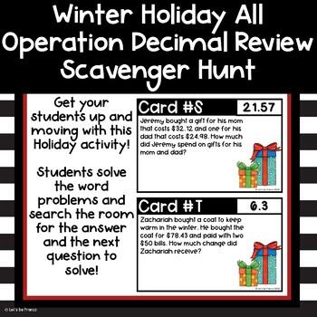 Holiday Decimal Review Scavenger Hunt