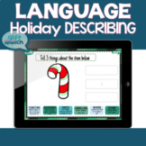 Holiday describing speech therapy activities for attributes on Boom Cards