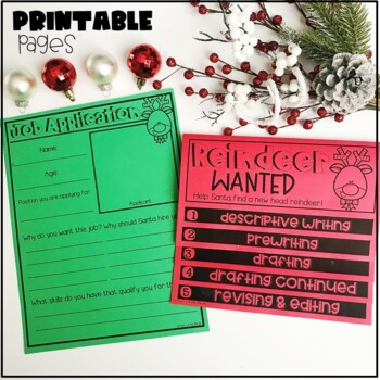 Winter, Holiday Writing: Descriptive Writing, Reindeer Wanted Writing Prompt