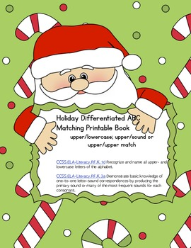 Holiday Letter Sound Printable Matching Book (Common Core