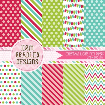 Holiday Digital Paper Pack - Christmas Lights