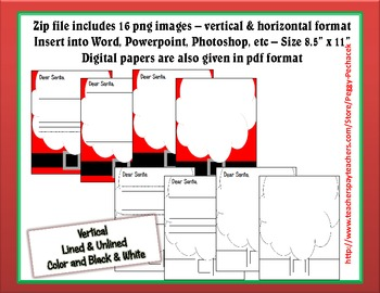 Holiday Digital Paper - Santa Theme - Lined & Unlined