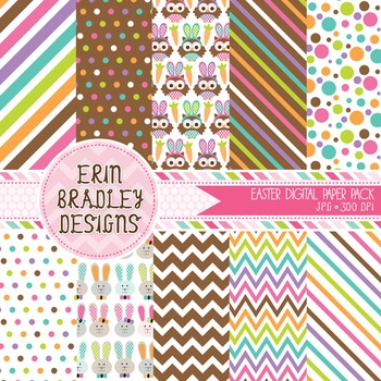 Holiday Digital Papers - Easter Owls and Bunnies Patterned Backgrounds