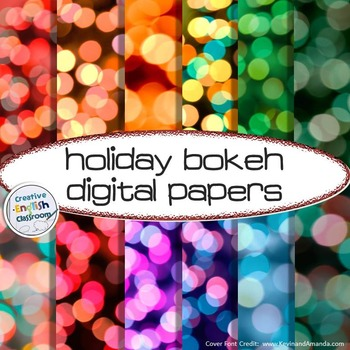 Holiday Digital Papers -- Pack of 12 Bokeh Designs