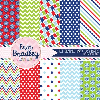 Holiday Digital Papers - Red Blue & Green Snowflakes Chevron Polka Dots