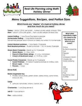 Holiday Dinner Math Project - Real-Life Math Application
