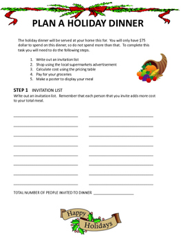 Holiday Dinner Planning Math Project