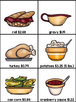 Holiday Dinner Real World Math:  Using decimals
