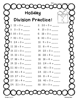 Holiday Division Pack - Pack of 4 Division Worksheets
