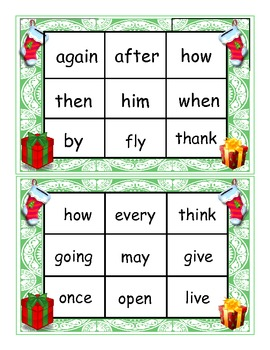 Holiday Dolch First Grade Sight Words Bingo Game