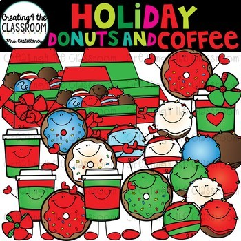 Holiday Donuts and Coffee Clipart {Donuts clipart}
