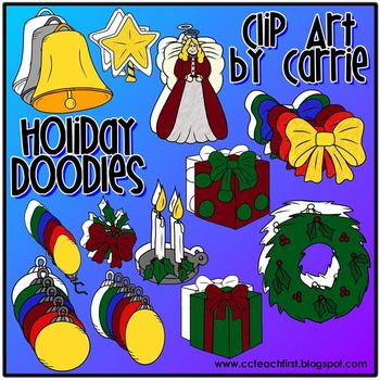 Holiday Doodles (BW and full color PNG images)