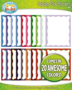Holiday Dot Borders — Basic Bundle Pack (20 Colorful Graphics!)
