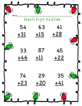 Holiday Double Digit Addition