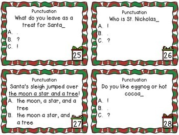 Holiday ELA Task Cards